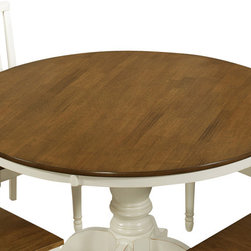 Monarch Specialties - Monarch Specialties 1840 Round Dining Table in Antique White with Oak - Bring style to your home with this charming round dining table featuring turn post legs and a beautiful two-tone finish. This antique oak look and buttermilk finished table brings rustic charm to any dining area.