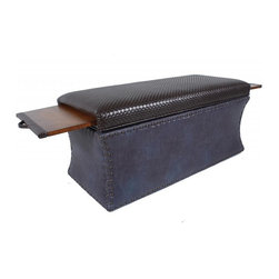 COUEF - Carey Bench - The Carey Bench is a people pleaser that just works. A great combination of hard and soft featuring one fabric on top and a different on the bottom. Medium bronze nail heads round out the look. Its versatility in style makes it flexible in a variety of interiors. COUEF's signature pullout shelves are constructed with quality solid wood. The benches are perfect at the foot of a bed, foyer or in front of a sectional as a coffee table.
