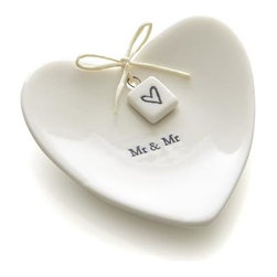 Mr. and Mr. Ring Dish - Heart-shaped tray provides wedding rings with a romantic setting when they're not on the happy couple's fingers. Packaged in its own gift box, this keepsake makes a fantastic gift for newlyweds or anniversary-celebrating spouses.