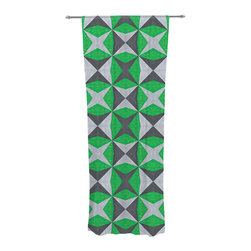 """Kess InHouse - Empire Ruhl """"Silver and Green Abstract"""" Green Black Decorative Sheer Curtain - Let the light in with these sheer artistic curtains. Showcase your style with thousands of pieces of art to choose from. Spruce up your living room, bedroom, dining room, or even use as a room divider. These polyester sheer curtains are 30"""" x 84"""" and sold individually for mixing & matching of styles. Brighten your indoor decor with these transparent accent curtains."""