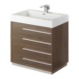 """Fresca - Livello 30"""" Gray Oak Vanity w/ Medicine Cabinet Versa Brushed Nickel Faucet - The Livello 30"""" vanity features four pull out drawers that come equipped with slow closing hinges.  Its sink is made with a durable acrylic material that is less likely to break then tradition ceramic, it also cleans better.  This vanity's minimal design will make your bathroom feel like a modern oasis.  Many faucet styles to choose from."""