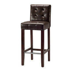 Safavieh - Safavieh Thompson Barstool - The Thompson Bar Stool offers classic design and sumptuous comfort for traditional or transitional interiors. Featuring espresso-toned finish on birch wood legs and rich brown bi-cast leather.