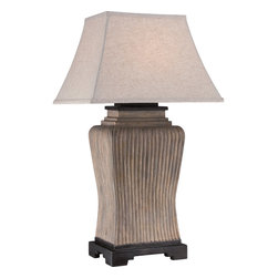Quoizel - Quoizel CKNN1741T Kennon 1 Light Outdoor Lamp - The need for style in outdoor spaces comes to Light with the Kennon table lamp. The monolithic styling of the cement base has a textural, aged look and features unique ribbing. It is paired with a complimenting tan fabric shade to create ambiance essential for perfect illumination for any area of your home.