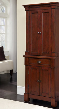 None - The Aspen Collection Pantry - Create ambiance with a perfect balance of warmth and style with The Aspen Collection Pantry. Mahogany solids, engineered wood, and cherry veneers are warmed with a rustic cherry finish.