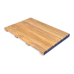 "Goldenteak - Teak Bath Mat 20""x14"" - Teak Shower Mat 20"" X 14"" and 1.5"" high. Rubber feet on underside to prevent slipping. Useful in the bath room or outdoors for washing your feet."