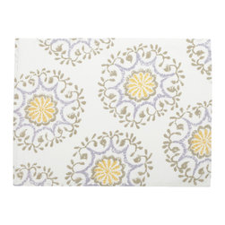 John Robshaw Textiles Varna Place Mat - The designs in this season's tabletop range from small poppy prints to large Suzani motifs comprised of floating medallions. By block printing these designs, they inherently take on the perfect level of casual.