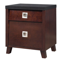 "Modus Furniture International - angelo:HOME Marlowe Nightstand in Black and Chocolate Brown - It's kind of funny, well maybe not funny-ha, hah-but interestingly funny. One of the most neglected rooms I seem to come across in all of my makeovers, is the bedroom. Everything donated, left over from college days, or the stuff that doesn't fit in other room winds up in the bedroom. Well, I'd like to take one small step to help you with that. My new Marlowe Bedroom collection! Whether you're getting the shelter bed, the beautifully crafted 2-tone dresser (I spent many hours getting those drawer pulls just right), nightstand, chest, OR one of the 2 mirrors, you'll be happy with the results of your own personal bedroom makeover. You can mix warm colors with this collection through bedding and wall color... blues, greens, or greys work great. I love before and afters--I'll try not to cry."" - Angelo Surmelis"