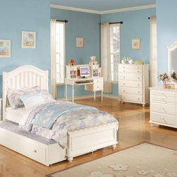 Acme Furniture - Zoe White Pink Striped 5 Piece Twin Bedroom Set with Trundle - - Set includes Twin Bed, Dresser, Mirror, Nightstand and Chest