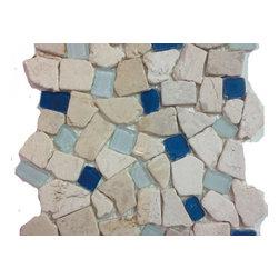 "Sea Glass Tile And Pebbles Atlantis Mosiac Blend, Sample - Sample Swatch"" 4""x4"""