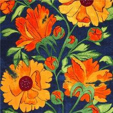 Fabric blue Michael Miller fabric yellow flowers Laura Gunn