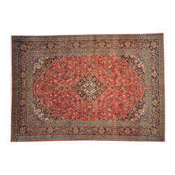 100% Wool Semi Antique Persian Kashan 9'x13' Hand Knotted Rug SH16759 - Hand Knotted Persian Rugs From Iran are know to be the highest quality rugs from around the world.  The weavers from Iran are also known to be the most skilled.  There's many different persian designs and these designs are derived from the city that they're woven in.