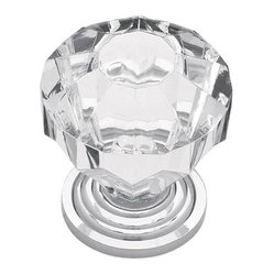 Victorian Large Clear Acrylic Knob with Chrome Base