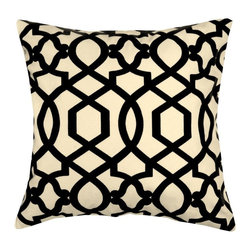 5 Surry Lane - Iman Black Sultana Lattice Geometric Pillow - Bring a dash of worldly appeal to your room with this globally inspired pillow.  It will brighten any space with its vivid pattern and exotic vibe.  Reverses to solid.  Down/feather insert included.  Hidden zipper closure.  Made in the USA.