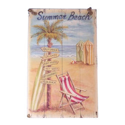 """Handcrafted Model Ships - Wooden Summer Beach Sign 16"""" Nautical Theme Wood Beach Signs Coastal Decor - New - Immerse yourself in the warm ambiance of the beach, imagining golden sands between your toes as you listen to the gentle sound of the surf, while you enjoy Handcrafted Nautical Decor's fabulous Beach Signs. Perfect for welcoming friends and family, or to advertise a festive party at your beach house, bar, or restaurant, this Wooden Summer Beach Sign 16"""" will brighten your life. Place this beach sign up wherever you may choose, and enjoy its wonderful style and the delightful beach atmosphere it brings."""