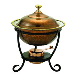 Old Dutch International - 12 in. Round Antique Chafing Dish - Includes wrought iron stand. Copper plated. Made from steel. Copper finish. 12 in. dia. x 15.25 in. H (10 lbs.)3 Qt. round antique copper chafing dish.  3 Qt. Stainless steel food pan is oven safe to 350F, water-bath design keeps food at the perfect serving temperature without drying out. Chafing dish features brass knob and accented rim.