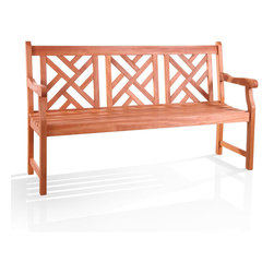 None - Atlantic Bench - I love the Chippendale/chinoiserie back on this outdoor bench. I see it with a couple of cute outdoor pillows at the front entrance of my house.
