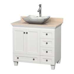 "Wyndham Collection - 36"" Acclaim White Single Vanity w/ Ivory Marble Top & White Carrera Marble Sink - Sublimely linking traditional and modern design aesthetics, and part of the exclusive Wyndham Collection Designer Series by Christopher Grubb, the Acclaim Vanity is at home in almost every bathroom decor. This solid oak vanity blends the simple lines of traditional design with modern elements like beautiful overmount sinks and brushed chrome hardware, resulting in a timeless piece of bathroom furniture. The Acclaim comes with a White Carrera or Ivory marble counter, a choice of sinks, and matching mirrors. Featuring soft close door hinges and drawer glides, you'll never hear a noisy door again! Meticulously finished with brushed chrome hardware, the attention to detail on this beautiful vanity is second to none and is sure to be envy of your friends and neighbors"