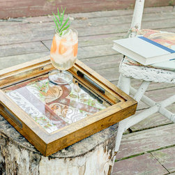 """""""Pacte Serving Tray"""" Monogram Antique Mirror - Hand-crafted serving tray featuring an antiqued custom monogram. Wooden tray is hand-finished in distressed, metallic gold. Antiqued mirror features gold embellishments, a smokey distressed background, and custom monogram in red/black strie."""