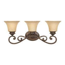 Designers Fountain - Designers Fountain Mendocino Bathroom Lighting Fixture in Forged Sienna - Shown in picture: 3 Light Bath Bar in Forged Sienna finish