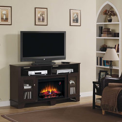 ClassicFlame - LaSalle Electric Fireplace Media Console in Oak Espresso - 26MM4995-PE91 - The LaSalle Electric Fireplace Media Console in Oak Espresso is designed with framed glass doors, nickel knobs and a beveled base for ultimate aesthetics. It features a divided center shelf as well as two side cabinets for storage and can support flat screen TVs up to 62-in in size.