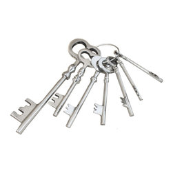 ecWorld - Reproduction Antique Aluminum Jailer Keys Set - This replica collectible Aluminum Jailer Keys comes with seven (7) keys.