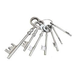 ecWorld - Reproduction Antique Aluminum Jailer Keys Set - This replica collectible Aluminum Jailer Keys comes with seven (7) keys.
