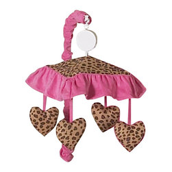 Sweet Jojo Designs - Pink Cheetah Crib Mobile - The Pink Cheetah Crib Mobile will have you putting your baby to sleep in style. When wound up this crib mobile spins and plays Brahms' lullaby. This musical crib mobile has been manufactured to fit standard sized cribs. The mobile set includes a musical mobile frame, canopy with hanging toys, and matching arm sleeve cover.Please note:The plastic clamp fits standard rails up to 2 3/4 in. wide. Non-standard crib rails may be wider than 2 3/4 in. and may not work with these mobile frames.