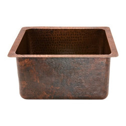 Premier Copper Products - Gourmet Rectangular Hammered Copper Bar/Prep - Configuration: Rectangle. Design: Hammered Copper Surface. Color: Oil Rubbed Bronze. Inner Dimension 14 in. x 12 in. x 8 in.. Outer Dimension: 16 in. x 14 in. x 8 in.. Installation Type: Under Counter or Surface-Mount. Rim: 1 in. Flat Rim. Countertop Depth Minimum: 18 in. Front to Back. Material Gauge: (15 Gauge or .056 in.). Drain Size: 3.5 in.. Suggested Drain Models: D-130ORB, D-132ORB. Drain not included. Faucet Mounting: Counter Deck Mount. Hand Made. 100% Recyclable. Composition: 99.7% Pure Recycled Copper. Lead Free (< .01%). Patina: Fired. Warranty: Limited Lifetime. Includes Mounting & Care InstructionsUncompromising quality, beauty, and functionality make up this Premier 16 in. x 14 in. x 8 in. Gourmet Rectangular Hammered Copper Bar/Prep Sink with a 3.5 in. Drain Opening. Built like a kitchen sink with flat bottom and sheer sides. Will support garbage disposal. Green Recyclable Products like Copper Sinks are a must have in today's modern home. This product is sure to impress your guests and satisfaction is always guaranteed.