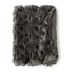 """Horchow - Anastasia Faux-Fur Throw 50"""" x 70"""" - SILVER - Anastasia Faux-Fur Throw 50"""" x 70""""DetailsAcrylic/polyester faux fur with polyester lining.Dry clean.Made in the USA of imported materials."""