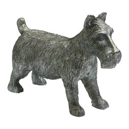 """Kathy Kuo Home - """"Monopoly"""" Scottish Terrier Dog Game Token Sculpture - Great Scot! Or scotty, that is!  This cute metal Scotty dog will provide lots of vintage character and fun wherever he is placed.  Just don't ask him to sit!"""