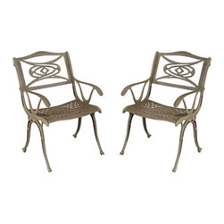 None - Malibu Cast Aluminum Taupe Outdoor Chair - A contemporary alternative to the usual traditional design of outdoor dining,the Malibu collection  chair offers a UV resistant,powder-coated finish. This outdoor chair also features a taupe color and a cast aluminum construction.