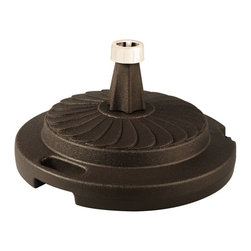 "PLC - Bronze Commercial Umbrella Stand - Commercial quality umbrella stand offers up to 95 lbs. of heavy holding force when filled with sand. Will accommodate umbrella poles from 1-1/2"" to 2"" diameter. Features locking screw on cap and smooth glide roller for easy moving.  Dimensions: 12"" tall X 22"" diam."