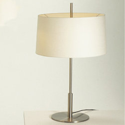 Santa & Cole - Santa & Cole Diana Table Lamp - The Diana lamp is a combination of functional and compositional sobriety. A central metallic shaft of variable diameter supports a wide circular white shade. The Diana Menor is an alternative for smaller spaces. Satin nickel structure. White linen lampshade. Upperdisk in translucent white. Lamp requires2x60-75W E26incandescent bulbs. The Diana Menor is a smaller version of the lamp. Manufactured by Santa & Cole.