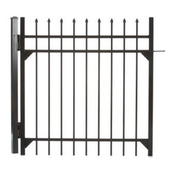 Specrail Madison Aluminum Walk Gate 3-Rail Panel - 4 ft. - With all the beauty of wrought iron and none of the maintenance, the Specrail Madison Aluminum Walk Gate 3-Rail Panel - 4 ft. is perfect for protecting your property, creating a garden, or enclosing your pool. Crafted from high quality, heavy walled aluminum that won't rust, this walk gate is also designed to be maintenance free, which means you don't have worry about painting or staining! Made in the finest fabrication and finishing facilities in the industry, this elegant gate has fully welded construction, as well as welded corner gussets, which makes it extremely strong and durable. This walk gate includes two self-closing hinges and a pad-lockable gravity latch and is easy to install so you'll have it up in no time.Additional FeaturesUse with DIY Fence System Universal PostUse with the DIY Fence Belleville 483 Fence Panel SystemNot advisable to mix and match fencing brandsAll welded construction is durable and strongWelded corner gussets add strengthLooks beautiful and protects your propertyIncludes 2 self-closing hingesAlso includes pad-lockable gravity latchGives you the beauty of traditional wrought ironEasy to installAbout SPECRAILSPECRAIL has been designing aluminum products of the highest quality for over 50 years. They offer the widest selection of any ornamental aluminum fencing company, and their extraordinary line includes 11 styles, 4 grades, and 5 colors. SPECRAIL brings beauty, strength, and a traditional wrought iron look to their maintenance-free aluminum fencing. Every piece they manufacture represents their strong commitment to meeting the needs of their customers and their dedication to quality.