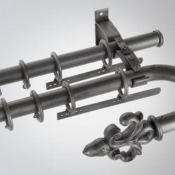 Orion Ornamental - 3D Drapery Hardware - Double Rod System in Soft Pewter - Double rod setup in Soft Pewter with Orion's 3D Drapery Hardware.