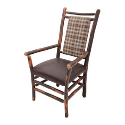 "Genesee River - Rustic Hickory Plaid Armchair - Tenoned hickory frame arm chair with cotton flannel plaid fabric in brown, blue, cream and orange on back of chair, seat is brown leather.  Seat height is 19"" from floor. Bench made in Pennsylvania."