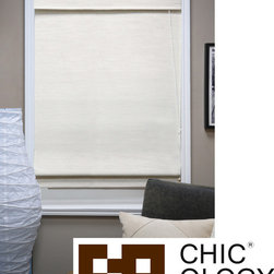 None - Chicology Nevada Vanilla Fabric Roman Window Shade - Create rich texture and warmth in any room with this natural woven fabric roman shade. This shade is perfect for any window or door in your home or office.