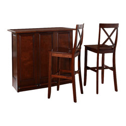 "Crosley Furniture - Crosley Mobile Folding Bar in Vintage Mahogany with 30"" X-Back Stool - Crosley Furniture - Home Bars - KF400033MA"