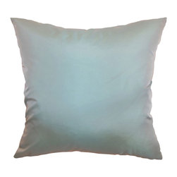 """The Pillow Collection - Quinta Plain Pillow Aqua 18"""" x 18"""" - Simple and versatile, this throw pillow will instantly stylize your space. This stunning decor pillow has a slight sheen and vibrant aqua hue. Coordinate this accent pillow with rich solids or intricate patterns for a lovely contrast. This square pillow works well with many themes. Made from 100% polyester fabric this throw pillow is ideal for formal and casual settings. Hidden zipper closure for easy cover removal.  Knife edge finish on all four sides.  Reversible pillow with the same fabric on the back side.  Spot cleaning suggested."""