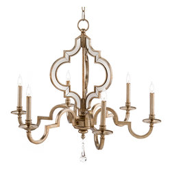 Kathy Kuo Home - Tabitha Hollywood Regency Antique Silver Mirror 6 Light Chandelier - Royally glamorous, this oversized, heraldic crest-shaped beauty lights up the room with six candle-shaped fixtures. The antique silver finish details each curve of this architecturally elegant chandelier. The adjustable chain and canopy create the perfect placement of light for your room.