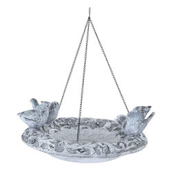 "Benzara - Poly Stone Hanging Birdfeeder in Elegant Design - Bring home this 17""H Unique Poly Stone Hanging Birdfeeder in Elegant Design and enhance the ambience of your room. This superb piece of art to your home and win accolades for your taste. Put up this polystone hanging bird feeder in your patio and give your ambience a natural look. It suits perfectly well with any modern or conventional style homes and is noticeable from a distance. The class of your living room decor gets further enhanced with this bird feeder hanging. It comes with a sturdy loop for a strong hold with 3 birds sitting on the plate. All you have to do is hang it up and rest assured of a graceful ambience. Elegant in looks, this hanging bird feeder is made of the finest quality polystone material to offer it durability and appearance retention for many years to come.; Suits modern and conventional decor; Durable and long lasting; Made of high quality polystone; Elegant design with sturdy looks; Weight: 3.64 lbs; Dimensions:15""W x 13""D x 17""H"