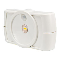 """Wireless All-Purpose Motion-Sensor LED Light - Illuminate any dark area with the Motion-Sensor LED All-Purpose Light. The motion detection sensor is able to pick up movement up to five feet away, and the LED illuminates ten square feet of area. It is highly efficient and battery powered, mounting almost anywhere with a sliding mounting plate for easy installation and battery changes. The low profile housing makes it perfect for the kitchen, closet, pantry, cabinets, shelves, bookcases , or storage rooms. The  LED light shuts off automatically after 20 or 60 second of no motion detection. It is available in white or brown housing. Requires 4 """"AA"""" batteries (not included)."""