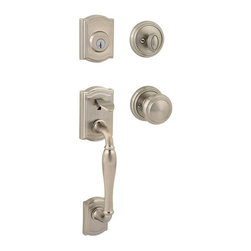 Baldwin Hardware - Prestige Wesley Single-Cylinder Handleset with Alcott Entry Knob in Satin Nickel - Baldwin has a 60 year legacy of craftsmanship and innovation. Rated #1 in quality by builders and contractors, Baldwin is pleased to offer a line of luxury hardware for the discriminating consumer, our Prestige Series.