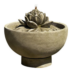 Campania - Smithsonian Lotus Garden Water Fountain, Copper Bronze - The Smithsonian Lotus Fountain lends a charming quality to your setting, while the flowing water will sooth and relax. The detail of the lily is stunning, and creates a unique and peaceful sound as water flows through it. Place it out amongst your garden of blooms and greens to create a soft and romantic setting.