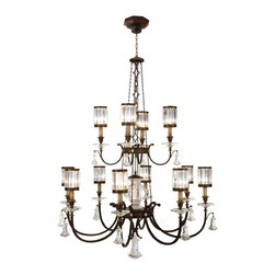 Fine Art Lamps - Eaton Place Rustic Iron Chandelier, 584740ST - Add some old-world elegance and new-world sparkle to your home. Reminiscent of European country houses, this grand chandelier features 12 faceted crystal shades and comes in either rustic iron or warm muted silver finishes. You are of the manor born, after all.