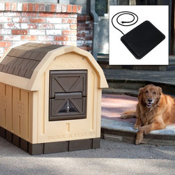 ASL Solutions - Dog Palace Dog House with Floor Heater Multicolor - ASL006 - Shop for Dog Houses from Hayneedle.com! This deluxe dog house features real EPS Foam insulation in the walls and ceiling and a self-closing door to provide significant protection against the elements plus an included floor heater to keep your pet even more comfortable. The lower door panel has a window so your dog can see out while resting comfortably. Self-storing window panels easily re-position from a closed position during colder months to a cross-ventilated position for warmer months- no tools required. The floor is raised 4 inches above the ground to provide a warm dry bedding area for your dog. This floor also features a drain hold and a slight slope to make cleaning a breeze- just hose down and let the water run out.With its quaint country styling the Dog Palace Dog House will make a charming addition to any outdoor setting while keeping your dog warm clean and comfortable. It is sized for medium to large dogs. About floor heater:40 Watts keep your dog warm and toasty all winterWater resistant to be safe through all seasonsBuilt-in thermostat and fuse provide a safe temperatureHeater dimensions: 18L x 18W x .75H inchesThis heated mat is water-resistant and has a built-in thermostat and fuse to provide a safe warm temperature for your pet all the time. It's ideal for use in the garage a kennel or any outdoor environment but it's specifically designed for use with the Dog Palace Dog House. When used with this dog house the mat is designed so the electrical cord will exit directly out the rear of the house. Dog House Dimensions:Exterior: 31.5W x 47.5D x 38.5H inchesInterior: 24W x 35.5D x 30.5H inchesFloor to door: 11 inchesAbout ASL SolutionsASL Solutions Inc. was founded in 2000. The two founders Howard Atkison and Bob Guinn have over 60 years of manufacturing experience. They have had more than four generations of large outside dogs in their immediate families. For years they have searched for a manufactured dog house with real insulation and a door that could not be destroyed. This combination of events has led to the creation of the Dog Palace and DP Hunter insulated dog houses. These are the first manufactured insulated dog house with real foam (Styro/EPS) insulation and an indestructible self-closing insulated door.