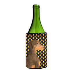 Caroline's Treasures - Doberman Candy Corn Halloween Portrait Wine Bottle Koozie Hugger SS4272LITERK - Doberman Candy Corn Halloween Portrait Wine Bottle Koozie Hugger SS4272LITERK Fits 750 ml. wine or other beverage bottles. Fits 24 oz. cans or pint bottles. Great collapsible koozie for large cans of beer, Energy Drinks or large Iced Tea beverages. Great to keep track of your beverage and add a bit of flair to a gathering. Wash the hugger in your washing machine. Design will not come off.