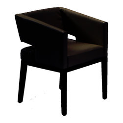 Armen Living - Armen Living Arm Chair Leather Black Espresso Wood - Contemporary black leather arm chair. Great accent seating with the loveseat. Armen Living is the quintessential modern-day furniture designer and manufacturer. With flexibility and speed to market  Armen Living exceeds the customer's expectations at every level of interaction. Armen Living not only delivers sensational products of exceptional quality  but also offers extraordinarily powerful reliability and capability only limited by the imagination. Our client relationships are fully supported and sustained by a stellar name  legendary history  and enduring reputation. The groundbreaking new Armen Living line represents a refreshingly innovative creative collaboration with top designers in the home furnishings industry. The result is a uniquely modern collection gorgeously enhanced by sophisticated retro aesthetics. Armen Living celebrates bold individuality  vibrant youthfulness  sensual refinement  and expert craftsmanship at fiscally sensible price points. Each piece conveys pleasure and exudes self expression while resonating with the contemporary chic lifestyle.