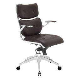 Modway - Push Midback Office Chair, Brown - The mid backed modern style of Push creates a focused synergy that turns all eyes on you. Every task that comes your way, will be handled with confidence, from the leatherette cushioned comfort of office luxury. Padded armrests, and the sleek sheen of the five dual-caster base, complete Push's stunning design.