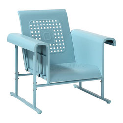 Crosley Furniture - Veranda Single Glider Chair in Caribbean Blue - Sturdy Steel Construction. Easy To Assemble. UV Resistant. Smooth glide rocking mechanism. Indoor/Outdoor Construction. . 31 in. W x 33 in. D x 33 in. H (66 lbs.)